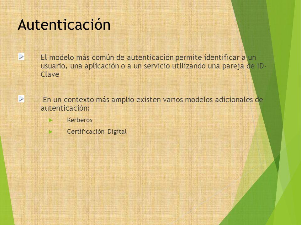 Autenticación El modelo más común de autenticación permite identificar a un usuario, una aplicación o a un servicio utilizando una pareja de ID- Clave