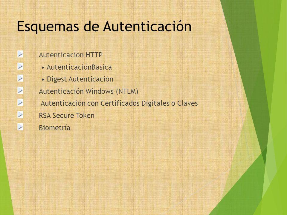 Esquemas de Autenticación Autenticación HTTP AutenticaciónBasica Digest Autenticación Autenticación Windows (NTLM) Autenticación con Certificados Digi