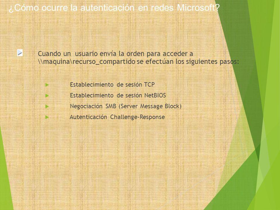 ¿Cómo ocurre la autenticación en redes Microsoft? Cuando un usuario envía la orden para acceder a \\maquina\recurso_compartido se efectúan los siguien