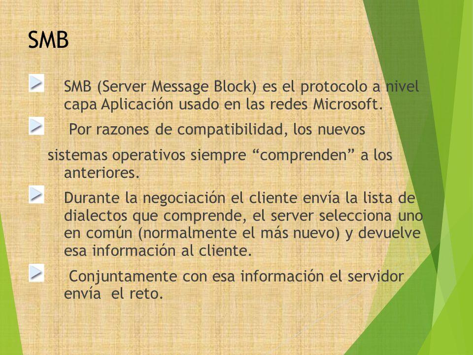 SMB SMB (Server Message Block) es el protocolo a nivel capa Aplicación usado en las redes Microsoft. Por razones de compatibilidad, los nuevos sistema