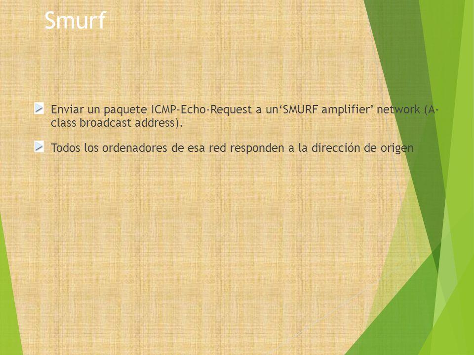 Smurf Enviar un paquete ICMP-Echo-Request a unSMURF amplifier network (A- class broadcast address). Todos los ordenadores de esa red responden a la di
