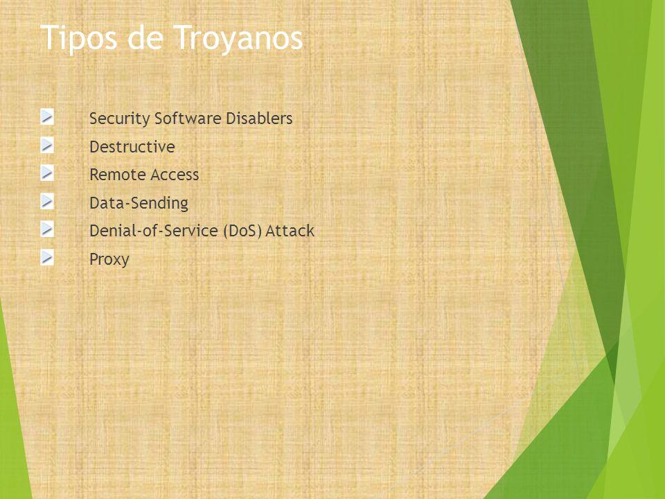 Tipos de Troyanos Security Software Disablers Destructive Remote Access Data-Sending Denial-of-Service (DoS) Attack Proxy