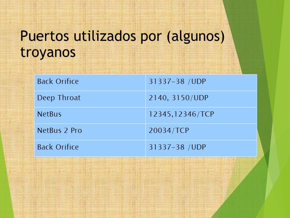 Puertos utilizados por (algunos) troyanos Back Orifice31337-38 /UDP Deep Throat2140, 3150/UDP NetBus12345,12346/TCP NetBus 2 Pro20034/TCP Back Orifice