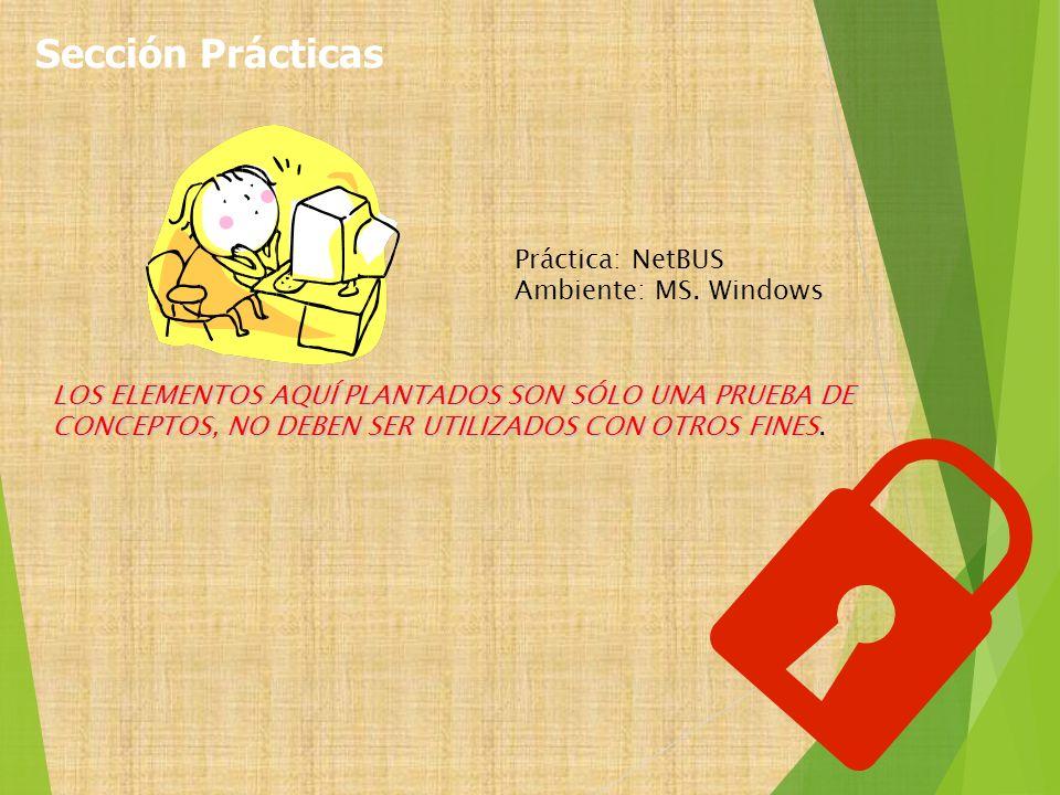 Práctica: NetBUS Ambiente: MS. Windows LOS ELEMENTOS AQUÍ PLANTADOS SON SÓLO UNA PRUEBA DE CONCEPTOS, NO DEBEN SER UTILIZADOS CON OTROS FINES LOS ELEM