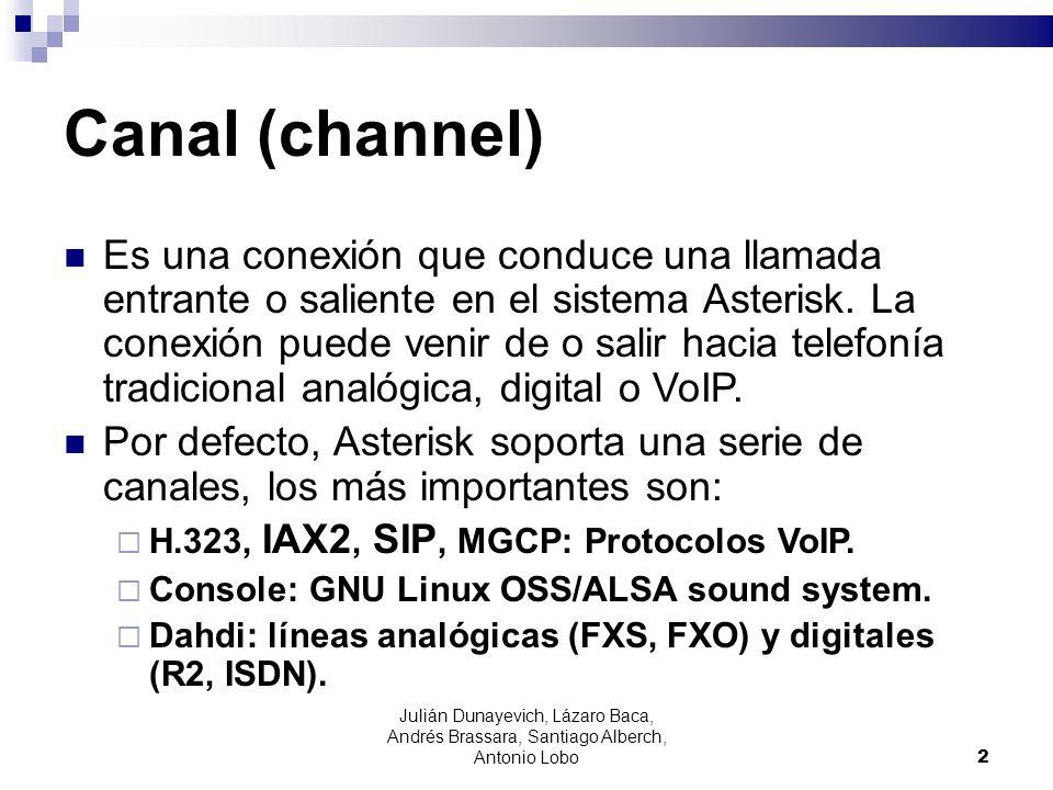 Julián Dunayevich, Lázaro Baca, Andrés Brassara, Santiago Alberch, Antonio Lobo 2 Canal (channel) Es una conexión que conduce una llamada entrante o s