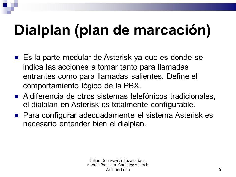 Julián Dunayevich, Lázaro Baca, Andrés Brassara, Santiago Alberch, Antonio Lobo 3 Dialplan (plan de marcación) Es la parte medular de Asterisk ya que