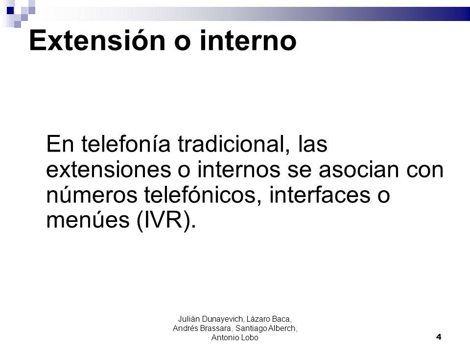 Julián Dunayevich, Lázaro Baca, Andrés Brassara, Santiago Alberch, Antonio Lobo 4 Extensión o interno En telefonía tradicional, las extensiones o inte