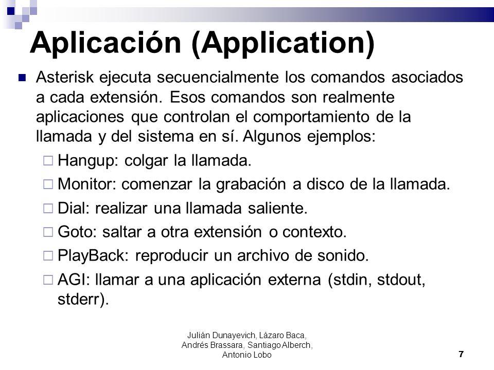 Julián Dunayevich, Lázaro Baca, Andrés Brassara, Santiago Alberch, Antonio Lobo 7 Aplicación (Application) Asterisk ejecuta secuencialmente los comand