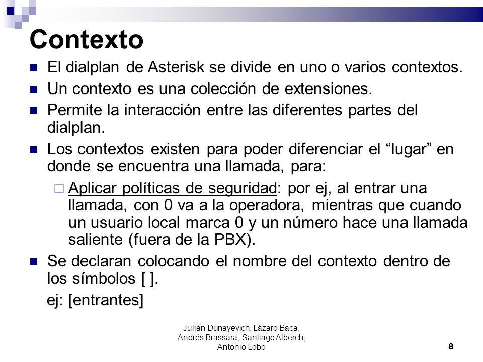 Julián Dunayevich, Lázaro Baca, Andrés Brassara, Santiago Alberch, Antonio Lobo 8 Contexto El dialplan de Asterisk se divide en uno o varios contextos