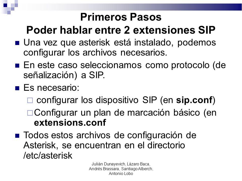 Primeros Pasos Poder hablar entre 2 extensiones SIP Una vez que asterisk está instalado, podemos configurar los archivos necesarios. En este caso sele
