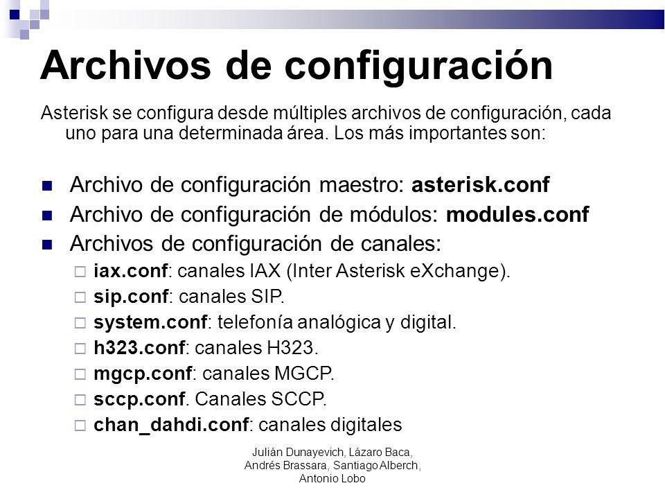 Archivos de configuración Asterisk se configura desde múltiples archivos de configuración, cada uno para una determinada área. Los más importantes son