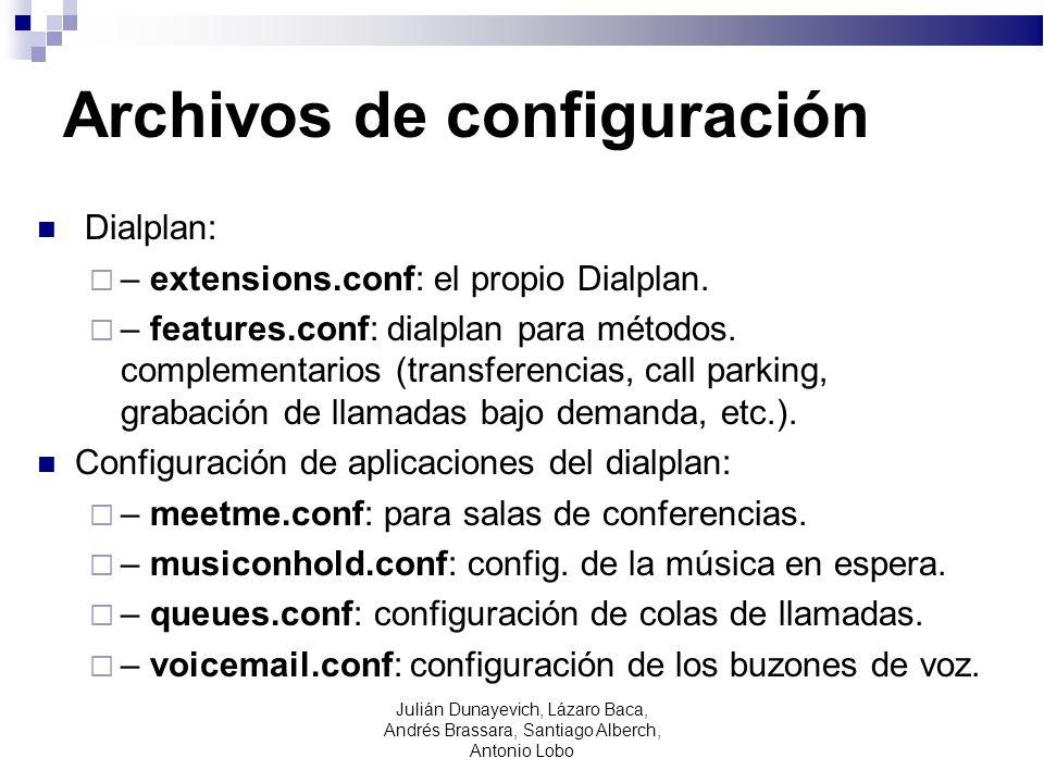Archivos de configuración Dialplan: – extensions.conf: el propio Dialplan. – features.conf: dialplan para métodos. complementarios (transferencias, ca