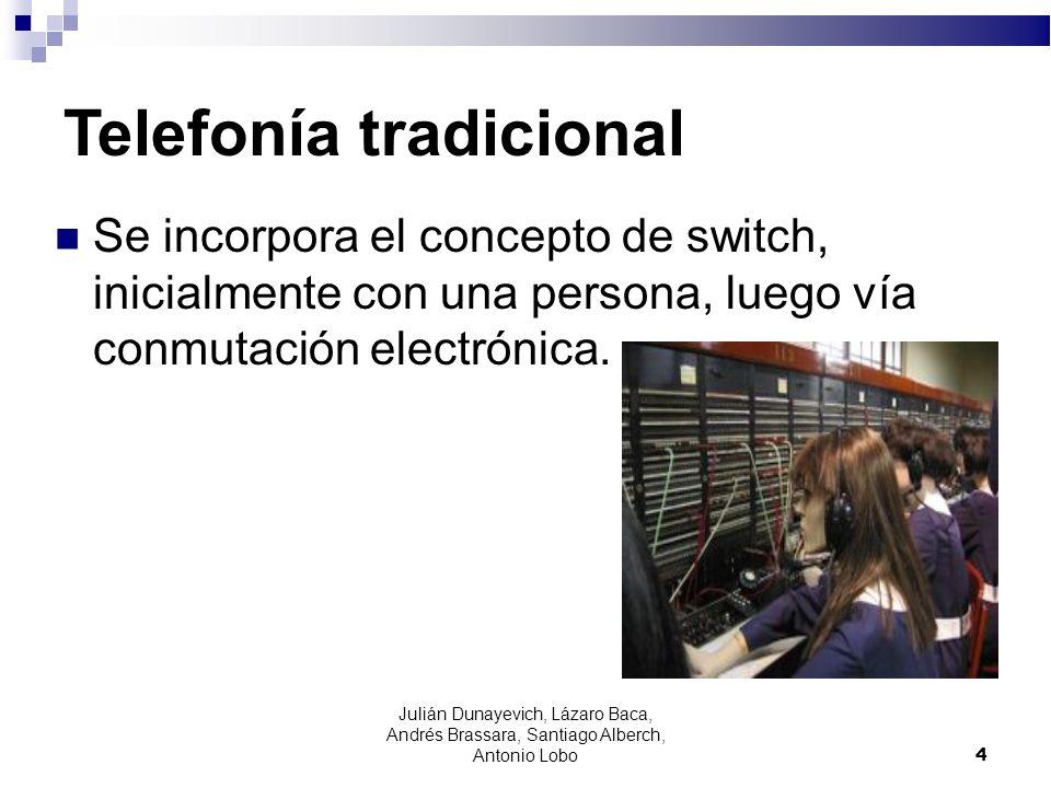 4 Telefonía tradicional Se incorpora el concepto de switch, inicialmente con una persona, luego vía conmutación electrónica. Julián Dunayevich, Lázaro