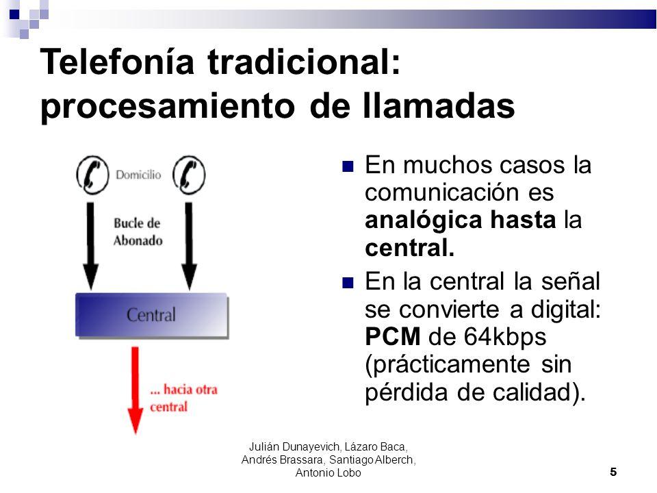 5 Telefonía tradicional: procesamiento de llamadas En muchos casos la comunicación es analógica hasta la central. En la central la señal se convierte