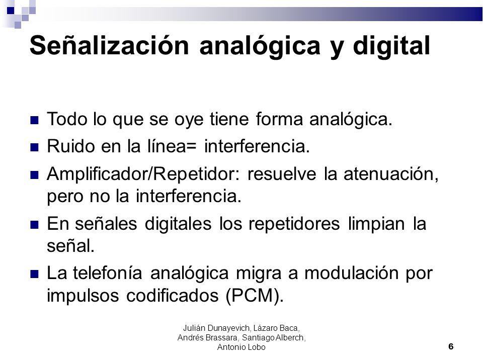 6 Señalización analógica y digital Todo lo que se oye tiene forma analógica. Ruido en la línea= interferencia. Amplificador/Repetidor: resuelve la ate