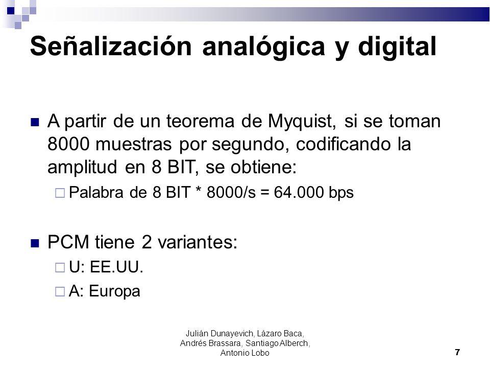 7 Señalización analógica y digital A partir de un teorema de Myquist, si se toman 8000 muestras por segundo, codificando la amplitud en 8 BIT, se obti