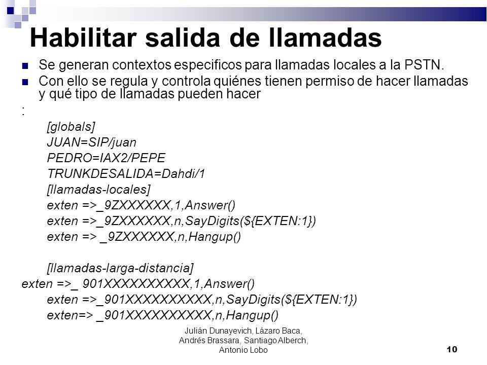 Habilitar salida de llamadas Se generan contextos especificos para llamadas locales a la PSTN. Con ello se regula y controla quiénes tienen permiso de