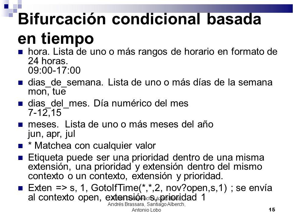 Bifurcación condicional basada en tiempo hora. Lista de uno o más rangos de horario en formato de 24 horas. 09:00-17:00 dias_de_semana. Lista de uno o