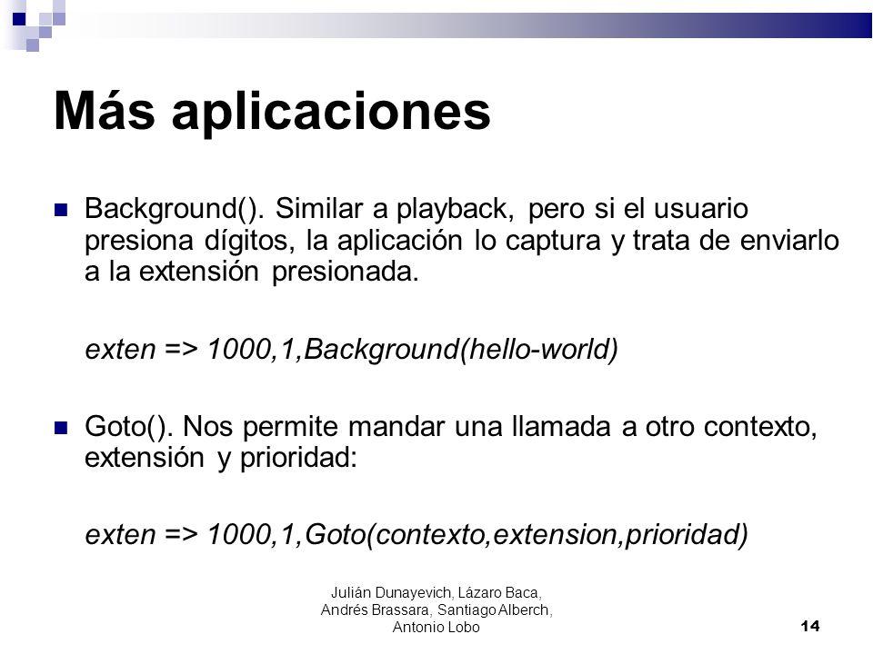 Más aplicaciones Background(). Similar a playback, pero si el usuario presiona dígitos, la aplicación lo captura y trata de enviarlo a la extensión pr