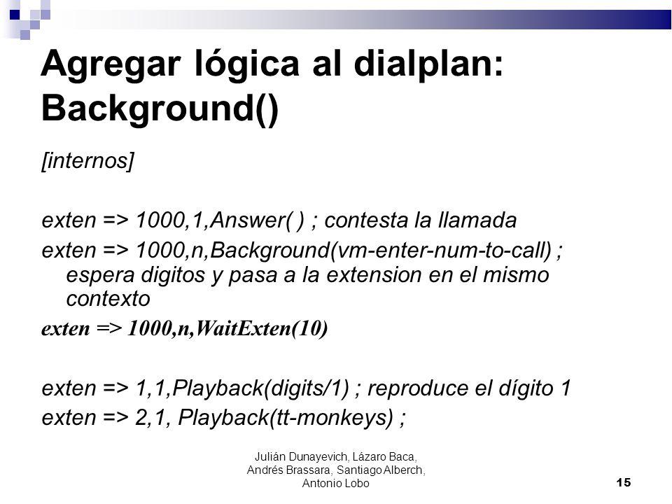 Agregar lógica al dialplan: Background() [internos] exten => 1000,1,Answer( ) ; contesta la llamada exten => 1000,n,Background(vm-enter-num-to-call) ;
