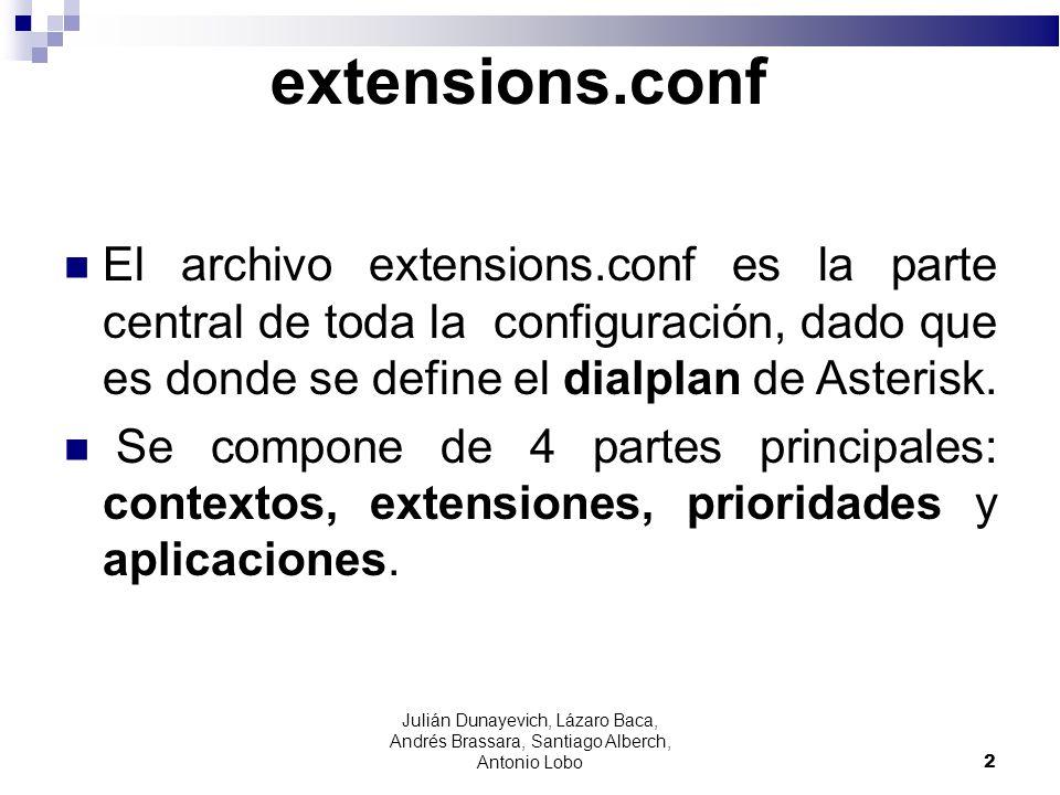 extensions.conf El archivo extensions.conf es la parte central de toda la configuración, dado que es donde se define el dialplan de Asterisk. Se compo