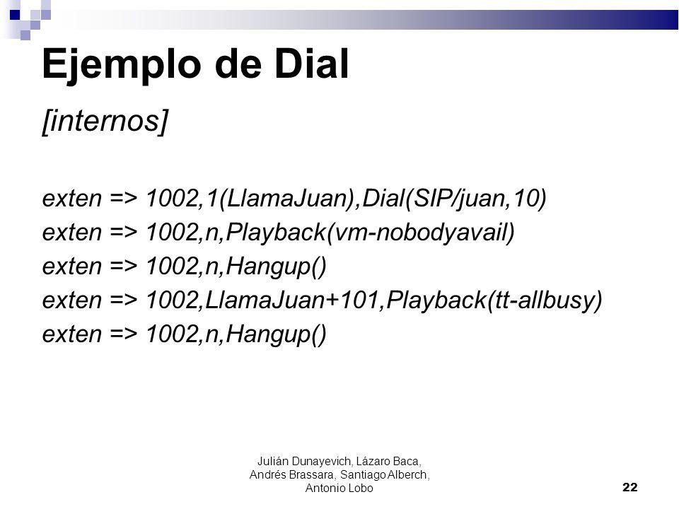 Ejemplo de Dial [internos] exten => 1002,1(LlamaJuan),Dial(SIP/juan,10) exten => 1002,n,Playback(vm-nobodyavail) exten => 1002,n,Hangup() exten => 100