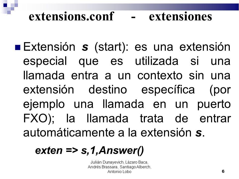 extensions.conf - extensiones Extensión s (start): es una extensión especial que es utilizada si una llamada entra a un contexto sin una extensión des