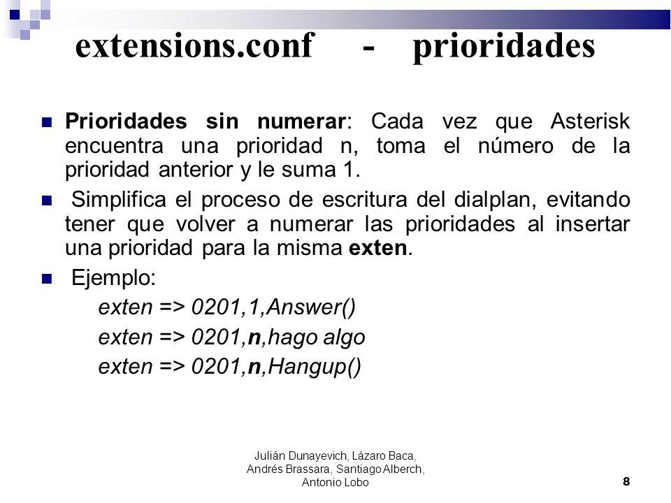 extensions.conf - prioridades Prioridades sin numerar: Cada vez que Asterisk encuentra una prioridad n, toma el número de la prioridad anterior y le s