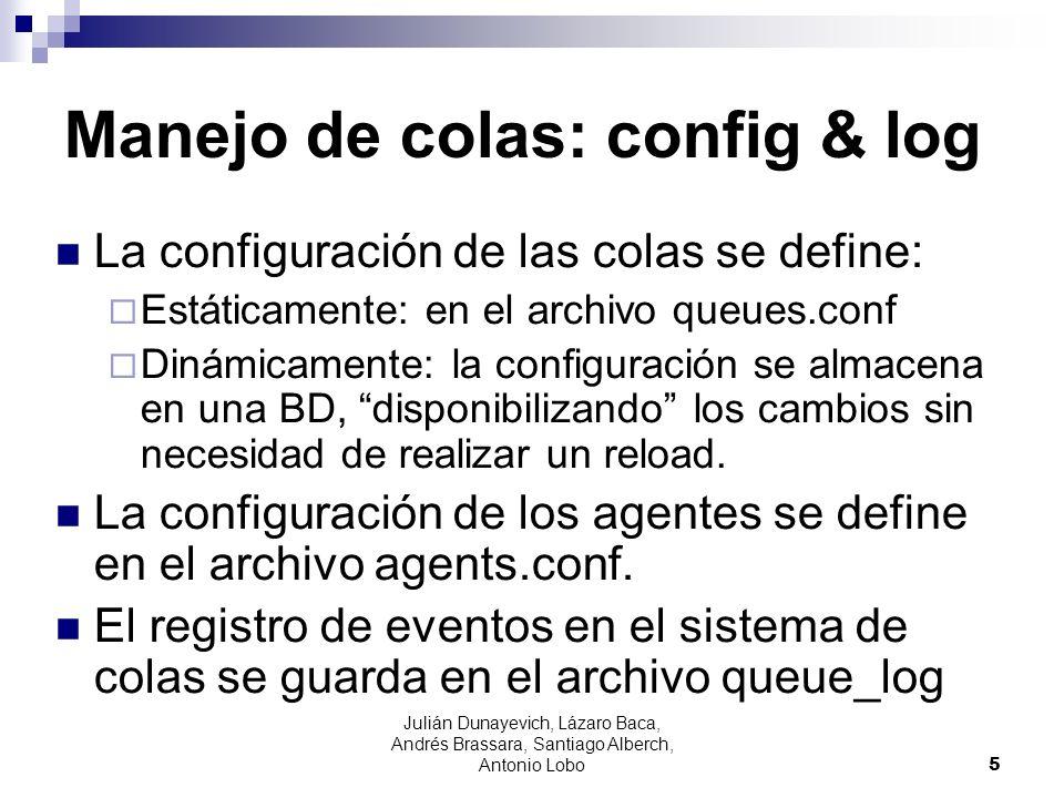 Manejo de colas: config & log La configuración de las colas se define: Estáticamente: en el archivo queues.conf Dinámicamente: la configuración se alm