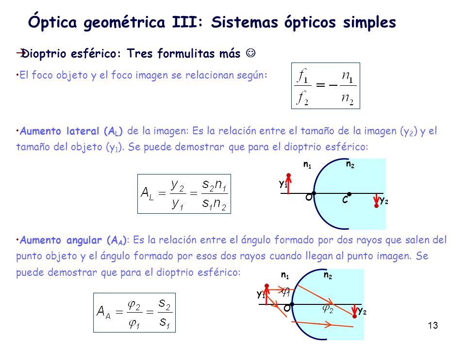 13 Dioptrio esférico: Tres formulitas más El foco objeto y el foco imagen se relacionan según: Aumento lateral (A L ) de la imagen: Es la relación ent