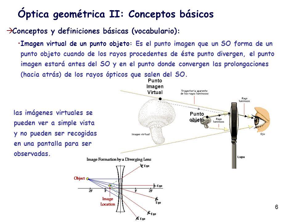 6 Conceptos y definiciones básicas (vocabulario): Imagen virtual de un punto objeto: Es el punto imagen que un SO forma de un punto objeto cuando de l