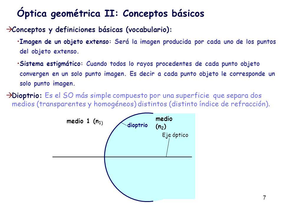 8 Óptica geométrica II: Conceptos básicos Aproximación paraxial: El estudio de la refracción y/o reflexión de los rayos luminosos puede ser muy complicado.