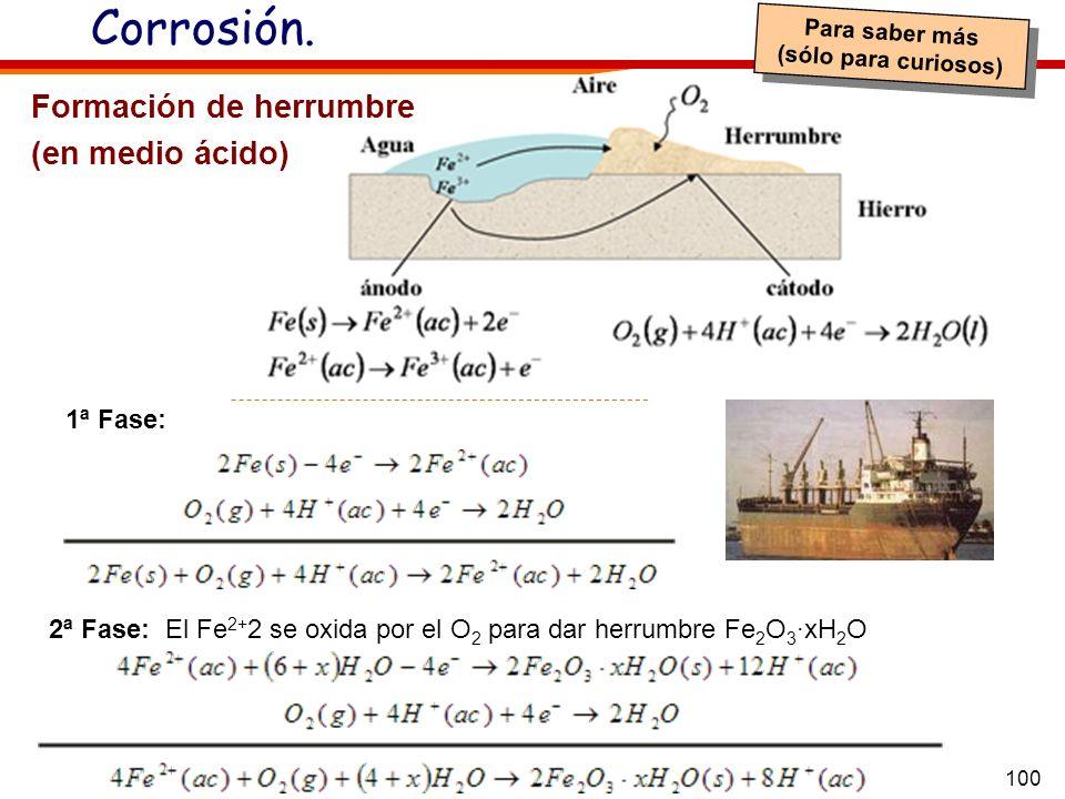 100 Corrosión. 2ª Fase: El Fe 2+ 2 se oxida por el O 2 para dar herrumbre Fe 2 O 3 ·xH 2 O Formación de herrumbre (en medio ácido) 1ª Fase: Para saber