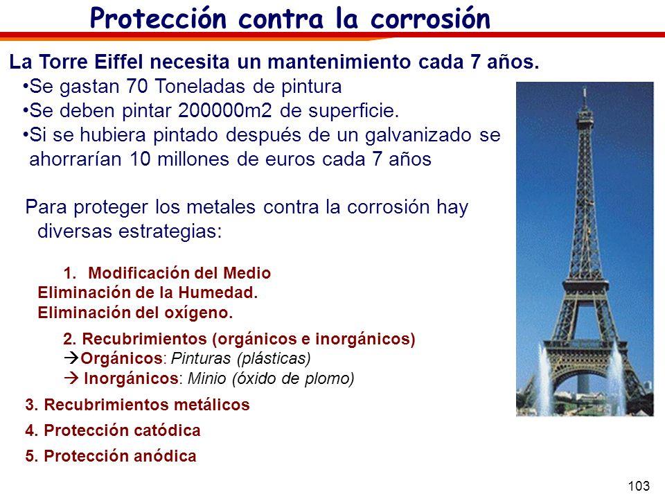 103 Protección contra la corrosión La Torre Eiffel necesita un mantenimiento cada 7 años. Se gastan 70 Toneladas de pintura Se deben pintar 200000m2 d