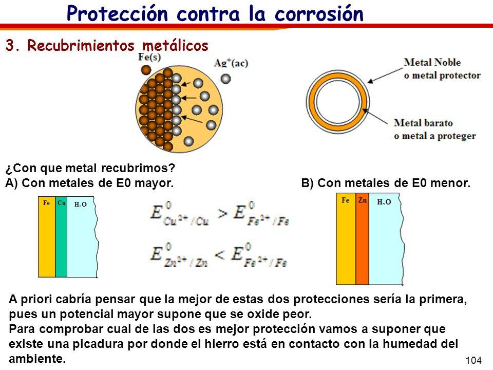 104 Protección contra la corrosión 3. Recubrimientos metálicos A priori cabría pensar que la mejor de estas dos protecciones sería la primera, pues un