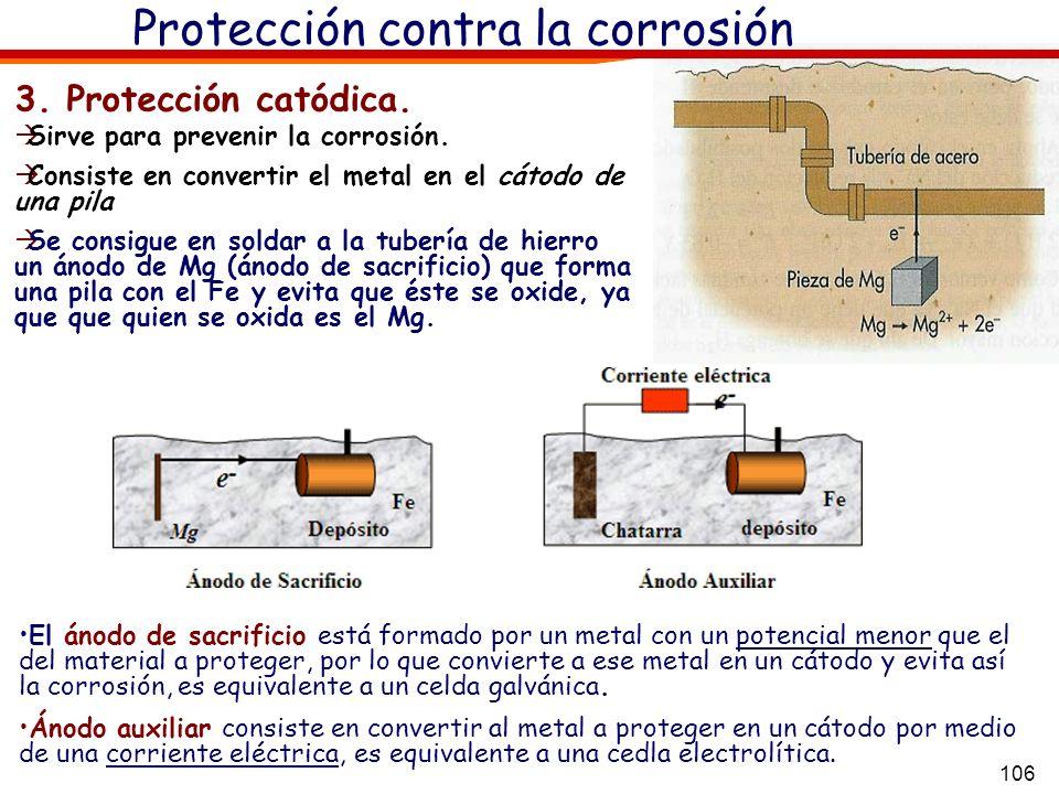 106 Protección contra la corrosión El ánodo de sacrificio está formado por un metal con un potencial menor que el del material a proteger, por lo que