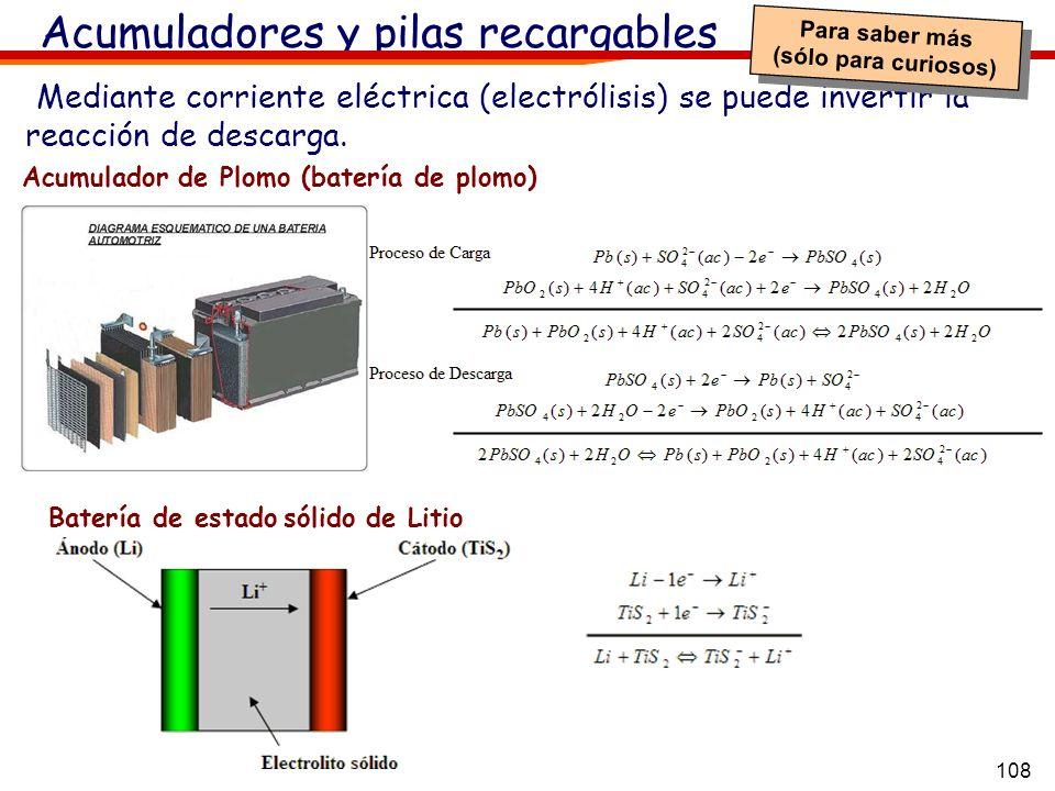 108 Acumuladores y pilas recargables Mediante corriente eléctrica (electrólisis) se puede invertir la reacción de descarga. Acumulador de Plomo (bater