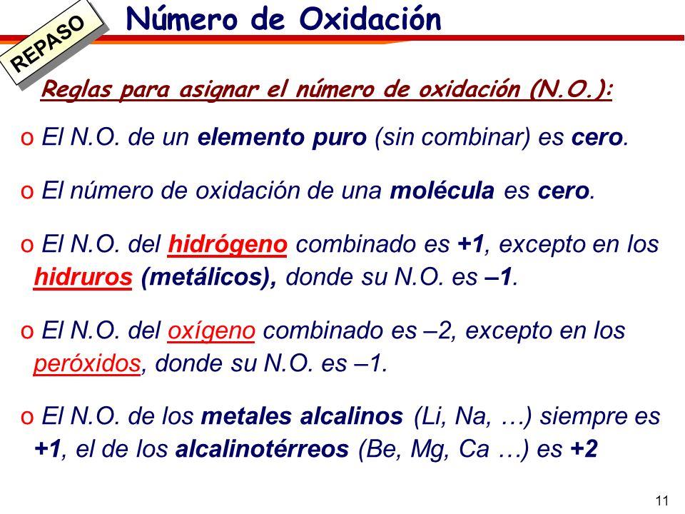 11 Reglas para asignar el número de oxidación (N.O.): o El N.O. de un elemento puro (sin combinar) es cero. o El número de oxidación de una molécula e