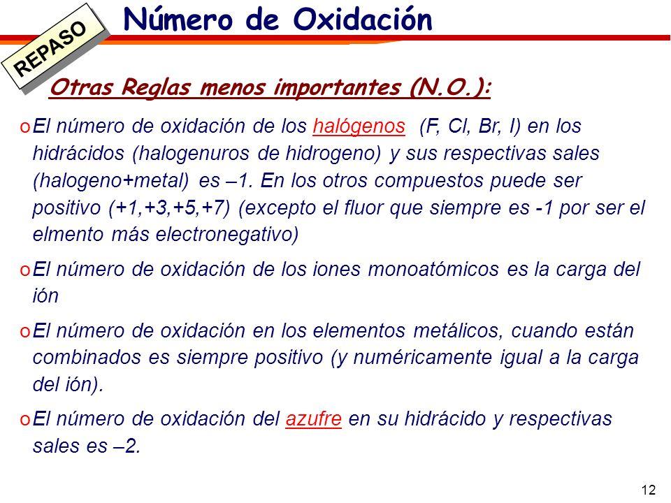12 Otras Reglas menos importantes (N.O.): oEl número de oxidación de los halógenos (F, Cl, Br, I) en los hidrácidos (halogenuros de hidrogeno) y sus r