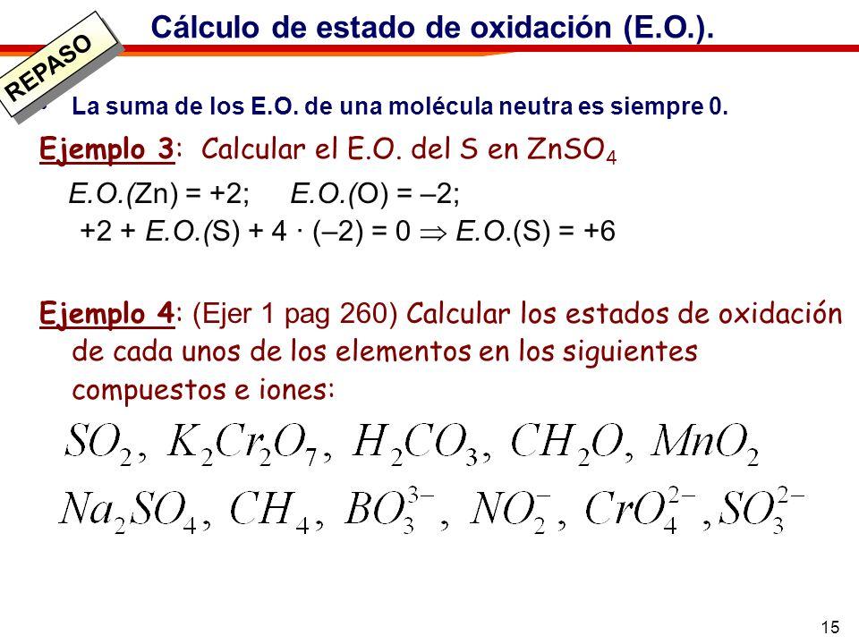 15 Cálculo de estado de oxidación (E.O.). La suma de los E.O. de una molécula neutra es siempre 0. Ejemplo 3: Calcular el E.O. del S en ZnSO 4 E.O.(Zn