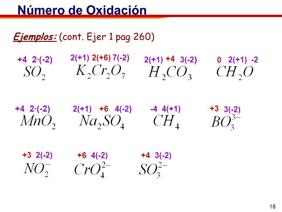 16 Ejemplos: (cont. Ejer 1 pag 260) Número de Oxidación +4 2·(-2) 2(+1) 7(-2 ) 2(+6) 2(+1) 3(-2 ) +4 2(+1) -2 0 +4 2·(-2) 2(+1) 4(-2 ) +6 -4 4(+1) 3(-