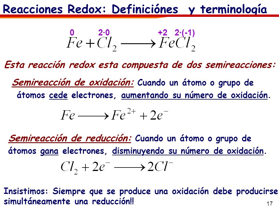 17 Semireacción de oxidación: Cuando un átomo o grupo de átomos cede electrones, aumentando su número de oxidación. Reacciones Redox: Definiciónes y t