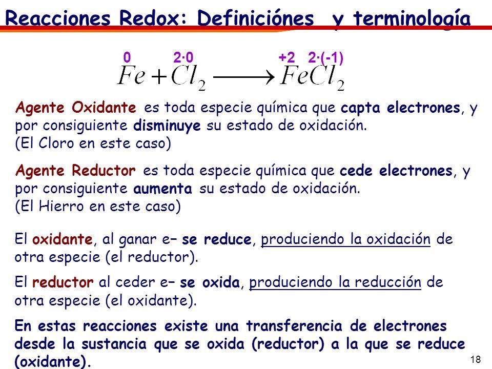 18 Reacciones Redox: Definiciónes y terminología El oxidante, al ganar e se reduce, produciendo la oxidación de otra especie (el reductor). El reducto