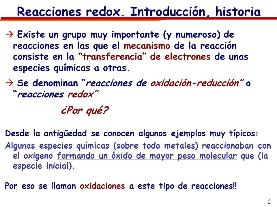 2 Reacciones redox. Introducción, historia Existe un grupo muy importante (y numeroso) de reacciones en las que el mecanismo de la reacción consiste e