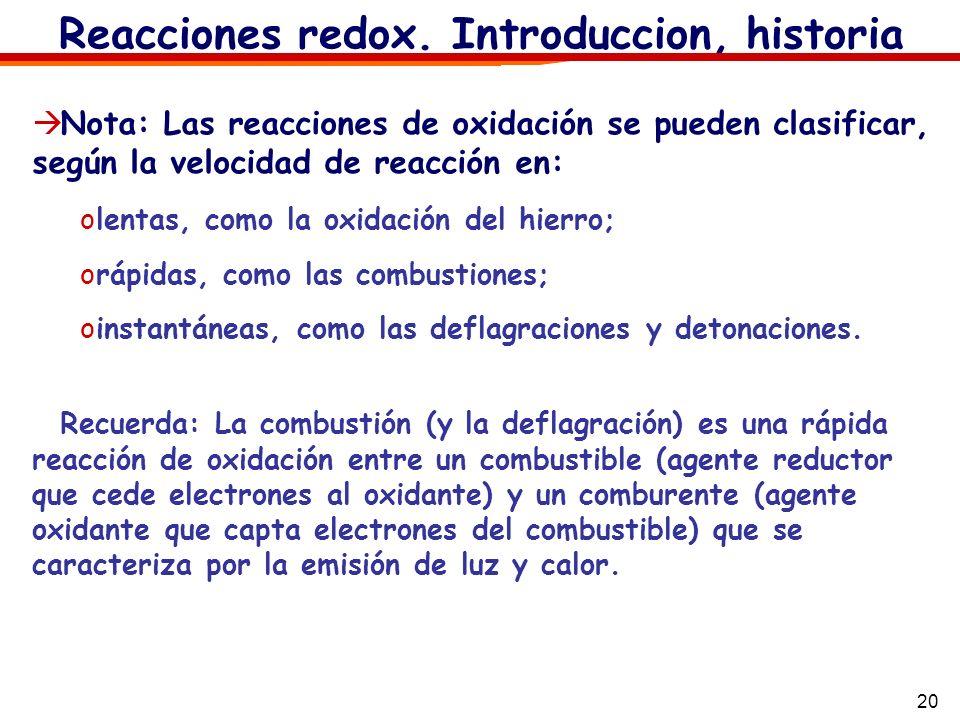 20 Reacciones redox. Introduccion, historia Nota: Las reacciones de oxidación se pueden clasificar, según la velocidad de reacción en: olentas, como l