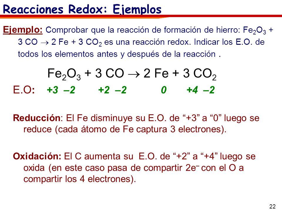 22 Ejemplo: Comprobar que la reacción de formación de hierro: Fe 2 O 3 + 3 CO 2 Fe + 3 CO 2 es una reacción redox. Indicar los E.O. de todos los eleme
