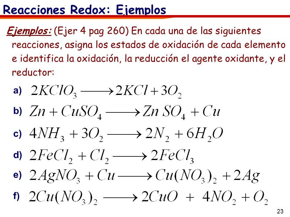 23 Reacciones Redox: Ejemplos Ejemplos: (Ejer 4 pag 260) En cada una de las siguientes reacciones, asigna los estados de oxidación de cada elemento e