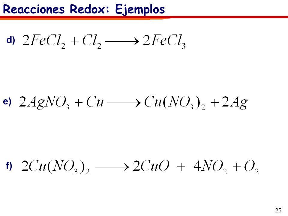 25 Reacciones Redox: Ejemplos d) e) f)