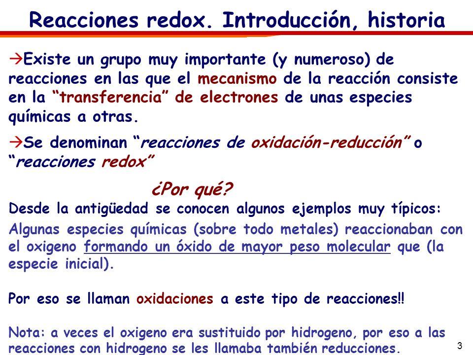 3 Reacciones redox. Introducción, historia Existe un grupo muy importante (y numeroso) de reacciones en las que el mecanismo de la reacción consiste e
