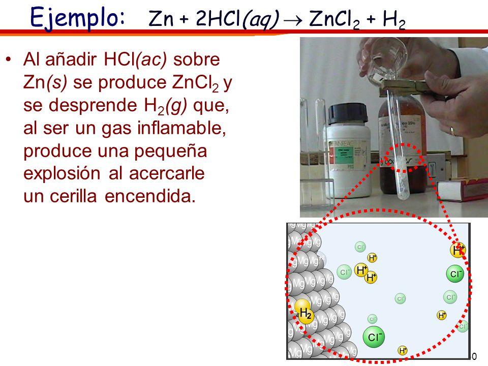 30 Ejemplo: Zn + 2HCl(aq) ZnCl 2 + H 2 Al añadir HCl(ac) sobre Zn(s) se produce ZnCl 2 y se desprende H 2 (g) que, al ser un gas inflamable, produce u